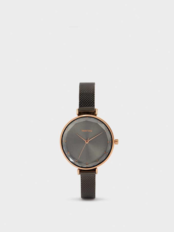 Reloj De Acero Correa Malla Metálica, Negro, hi-res