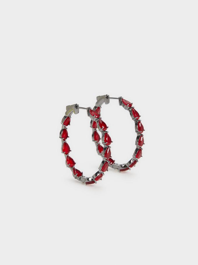 Sparkling Earrings Hoop-Earrings, Bordeaux, hi-res