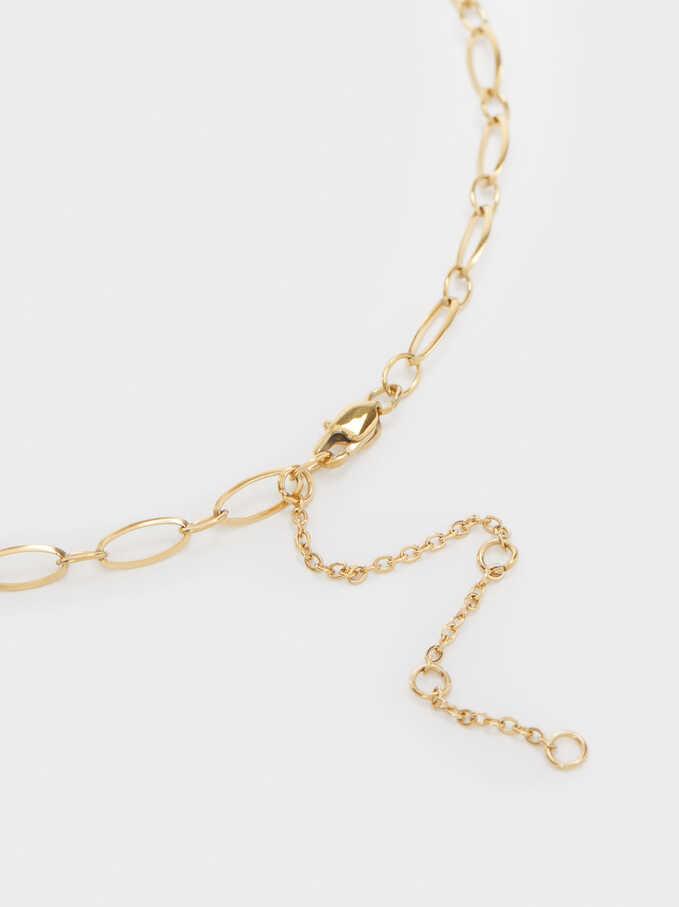 Short Gold-Toned Steel Necklace, Golden, hi-res