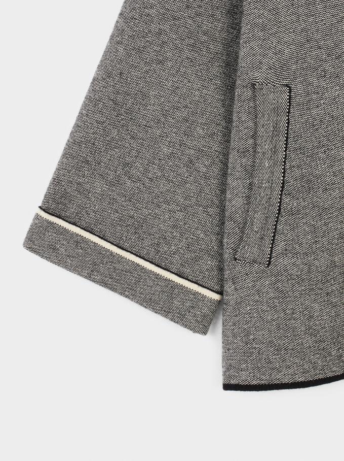 Hooded Knit Poncho, Black, hi-res