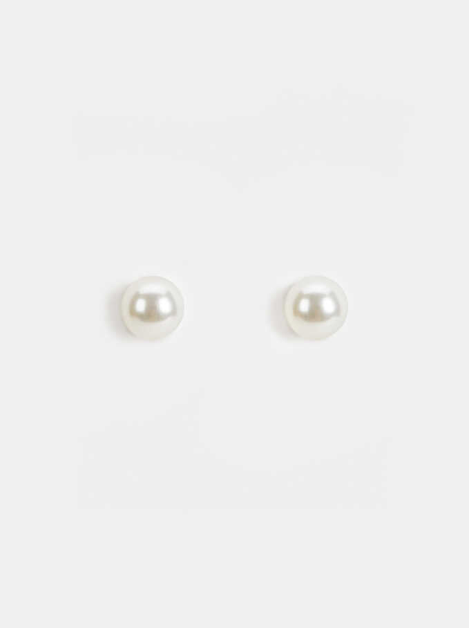 Basic Earrings, Beige, hi-res