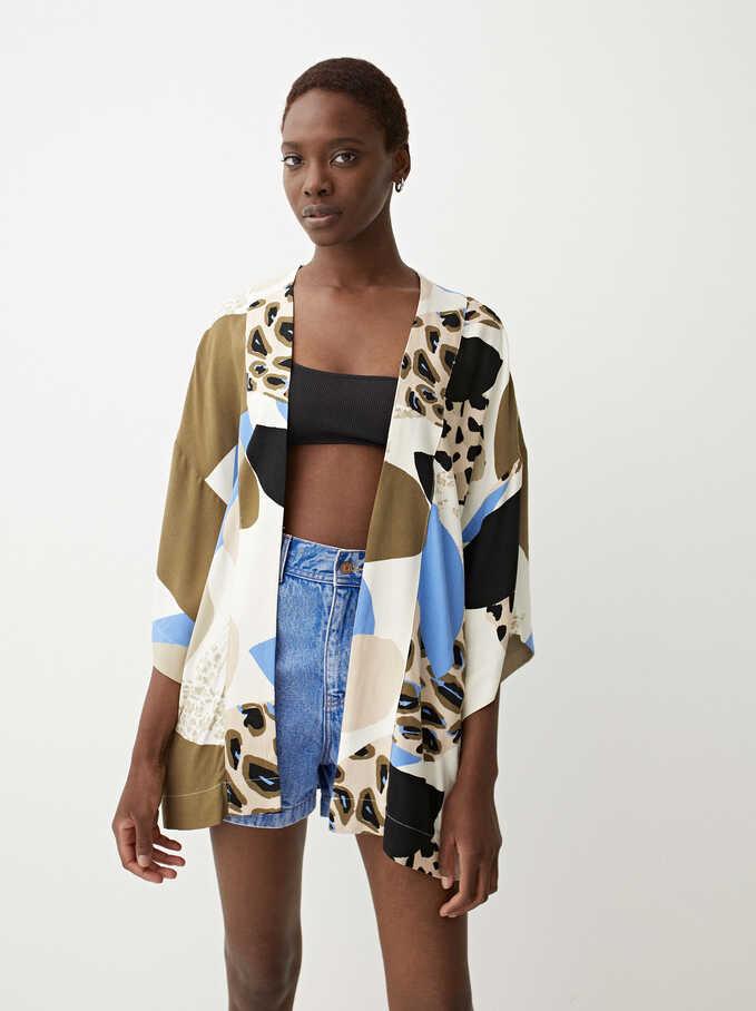 Printed Open Kimono , Multicolor, hi-res