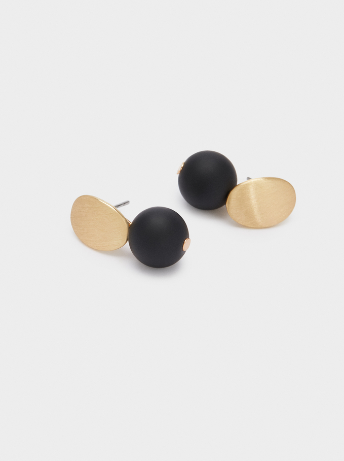 Stone Stud Earrings, Black, hi-res