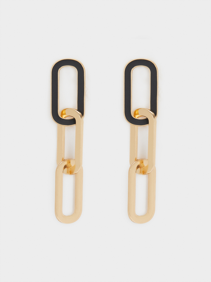 Long Earrings With Links, Black, hi-res