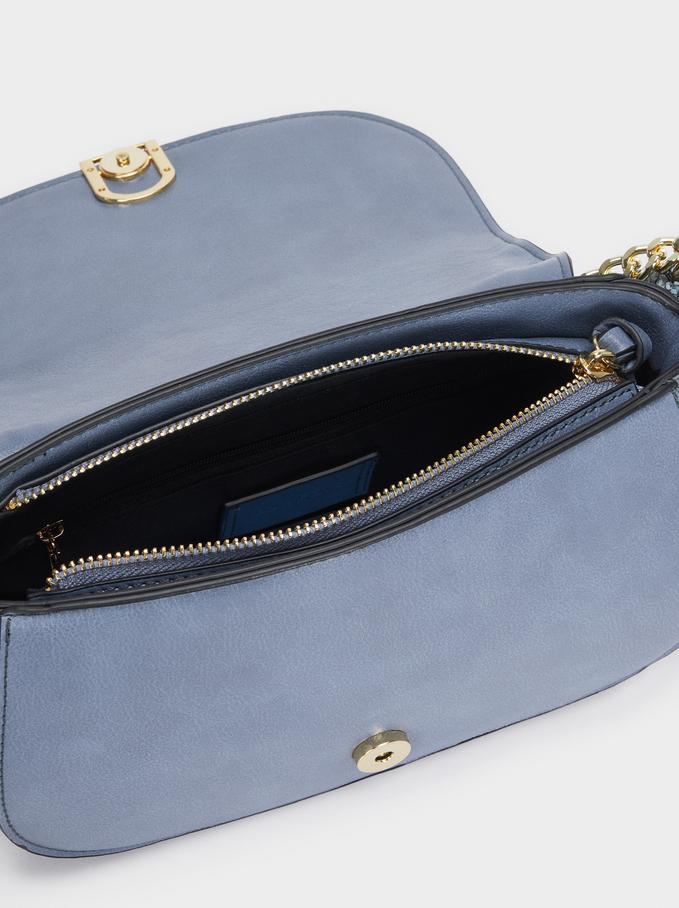 Crossbody Bag With Embossed Snakeskin Handle, Blue, hi-res