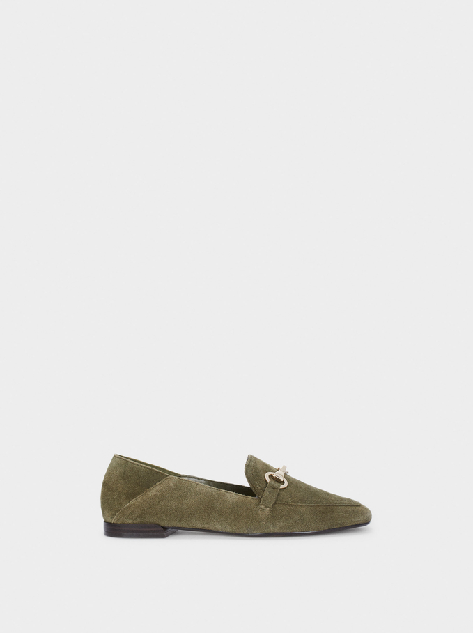 Leather Moccasins With Chain Detail, Khaki, hi-res