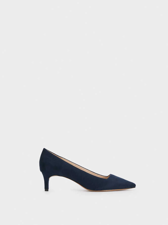 Faux Suede Mid-Heel Court Shoes With Square Vamp, Navy, hi-res