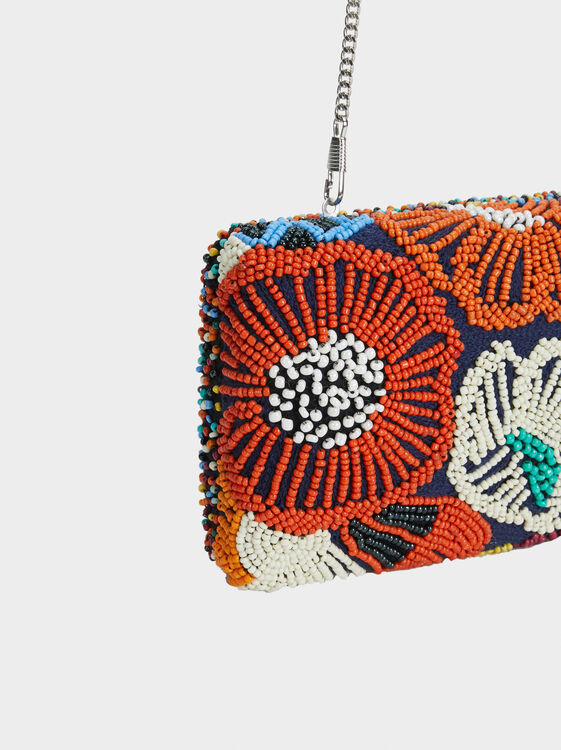 Party Clutch With Beading, Navy, hi-res