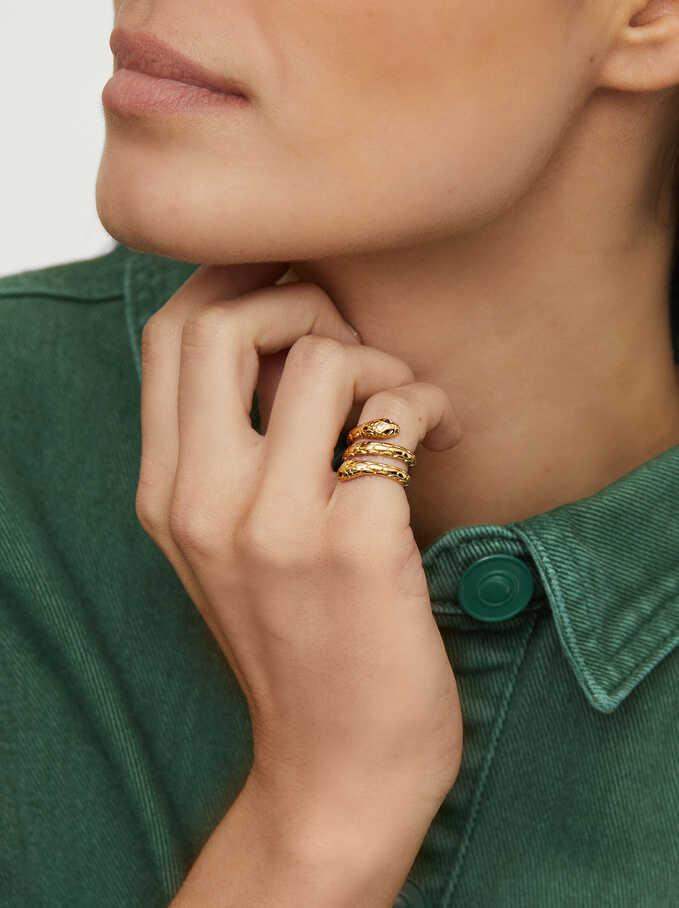 Anillo De Acero Serpiente Para El Meñique, Dorado, hi-res