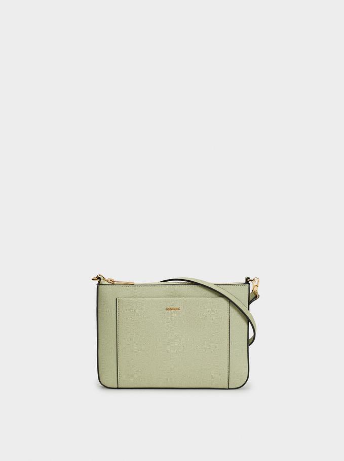 Shoulder Bag With Outer Pocket, Grey, hi-res