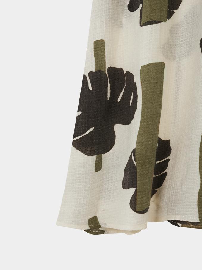 Vestido De Alças Estampado Folhas, Caqui, hi-res