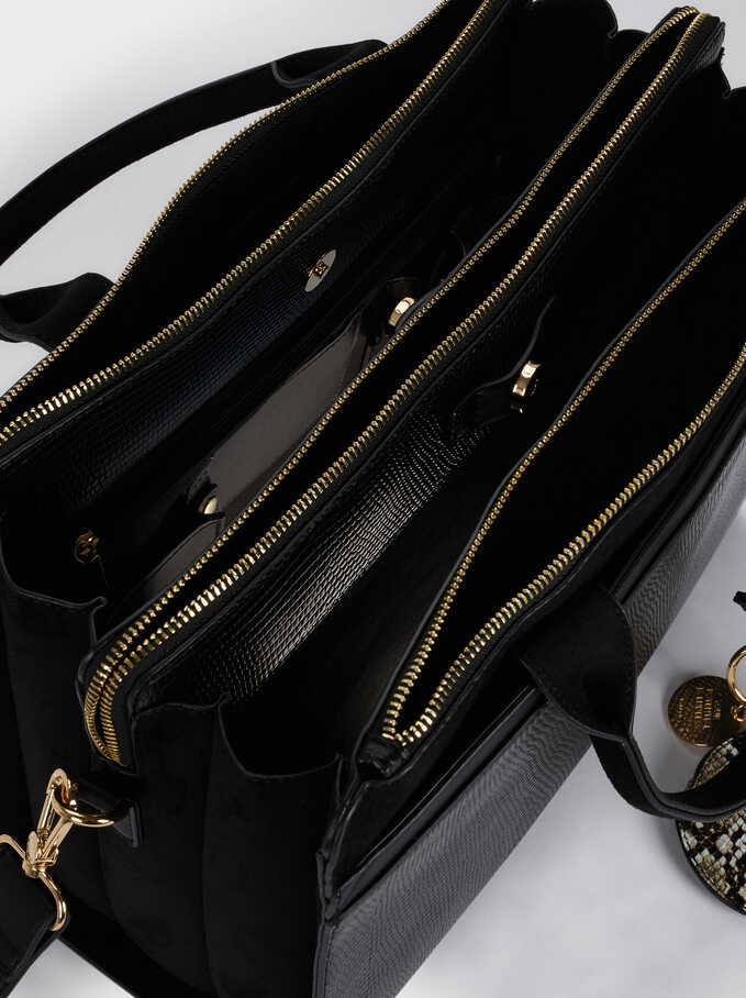 Briefcase With Animal Embossed Detail And Removable Shoulder Strap, Black, hi-res