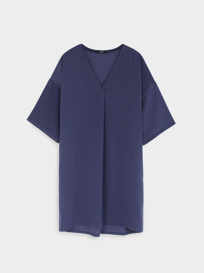 Plain V-Neck Dress, Blue, hi-res