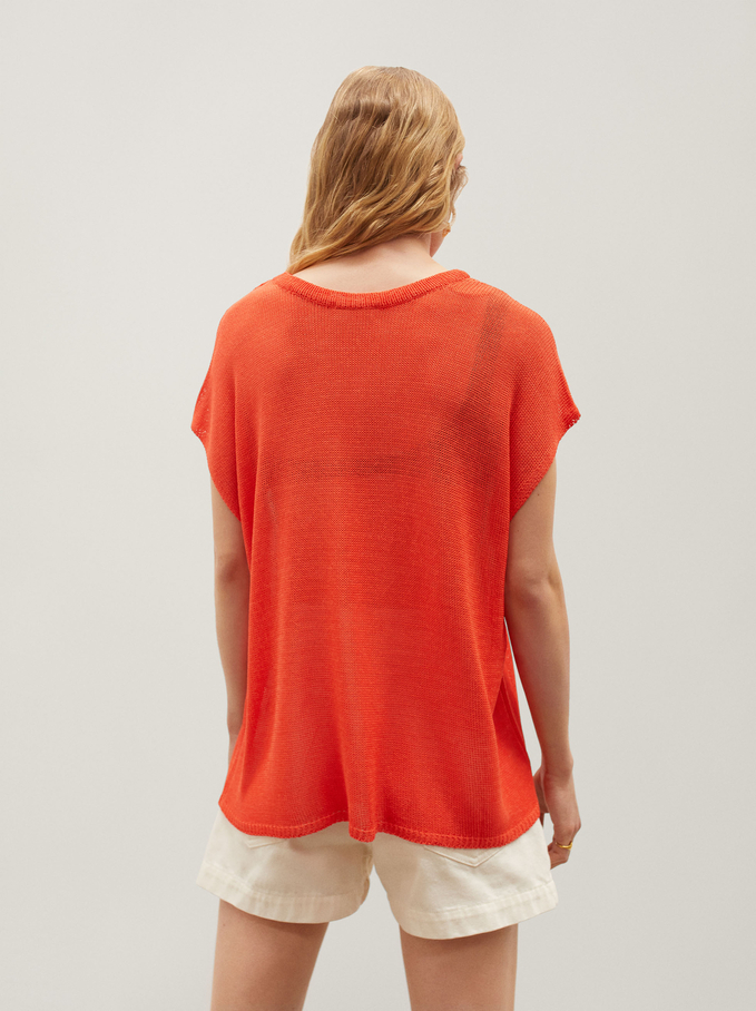 Knitted V-Neck Sweater, Red, hi-res