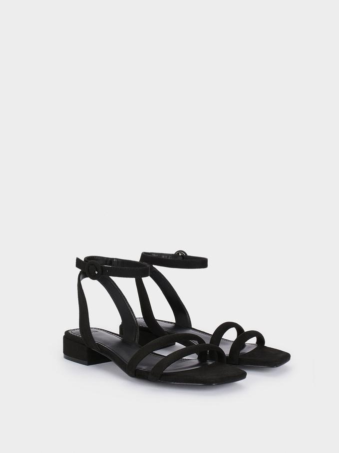 Flat Sandals With Tubular Straps, Black, hi-res