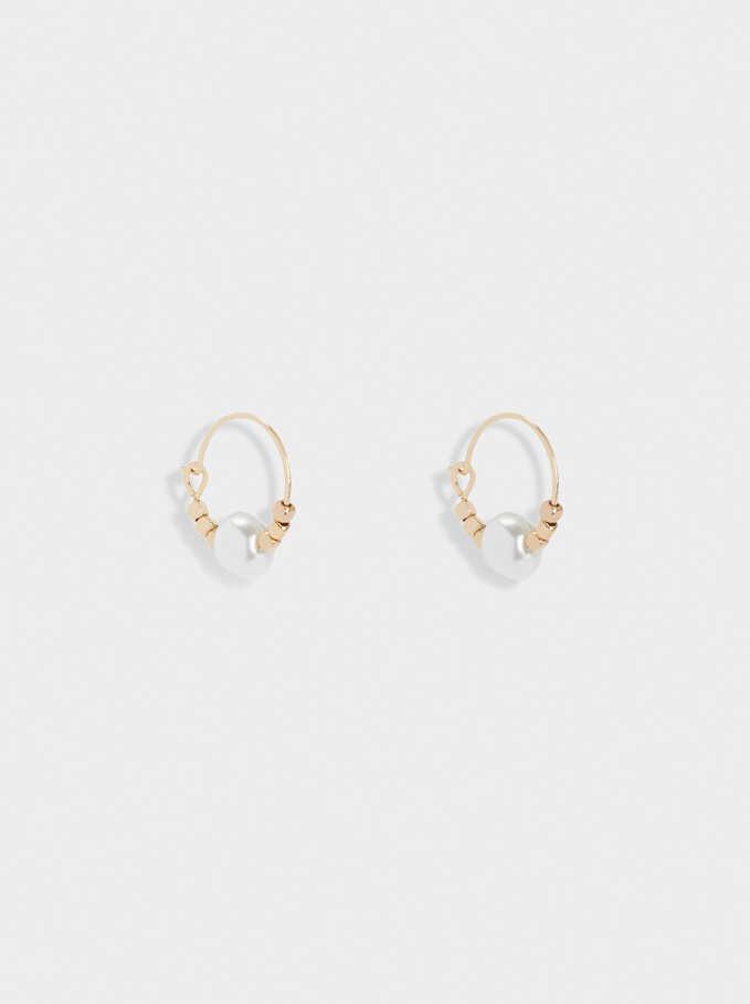 Short Hoop Earrings With Pearl, Golden, hi-res
