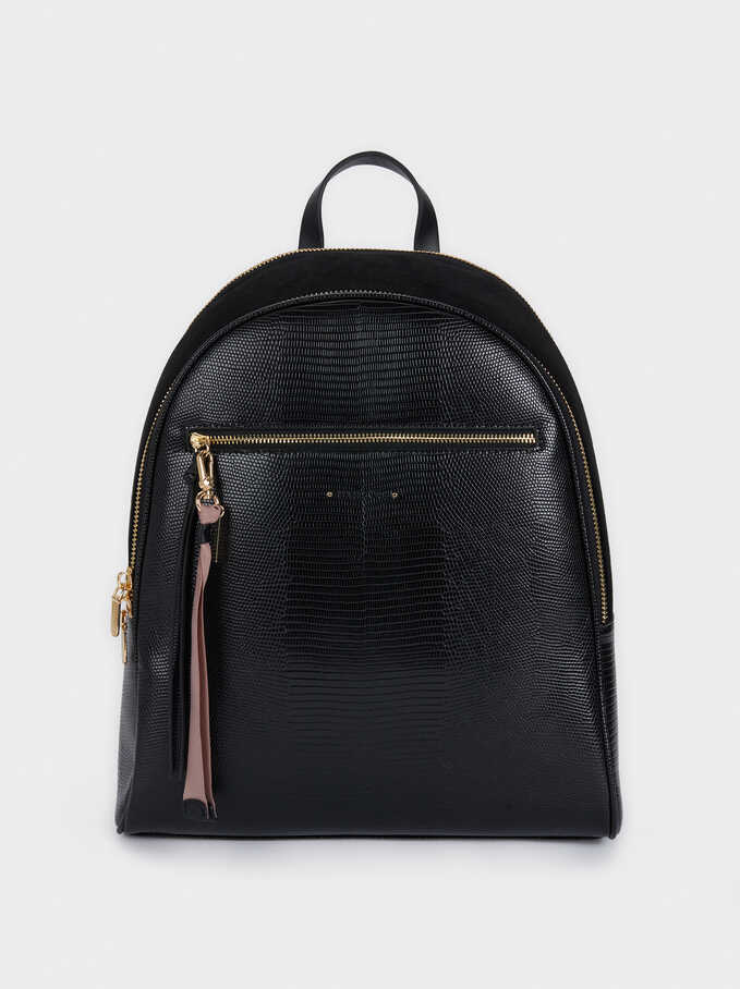 Backpack With Embossed Animal Print And Zip Fastening, Black, hi-res
