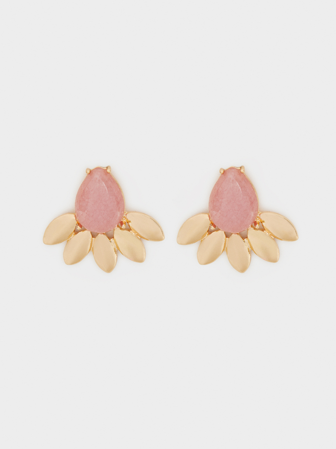 Petrified Earrings, Pink, hi-res