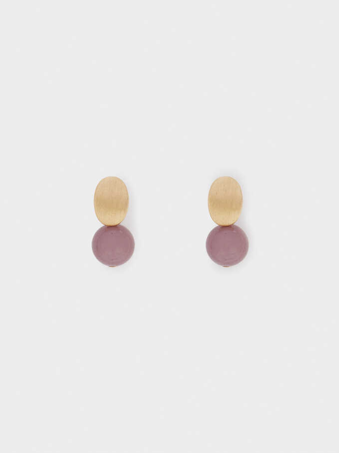 Stone Stud Earrings, Bordeaux, hi-res
