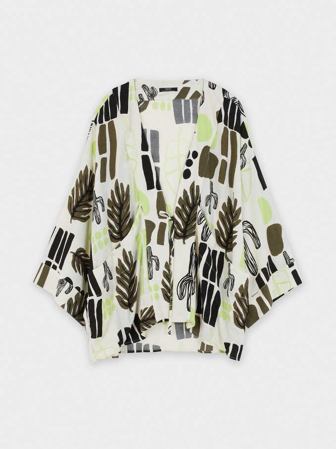 Printed Open Kimono , White, hi-res