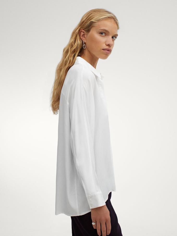 Long-Sleeve Plain Shirt, Ecru, hi-res