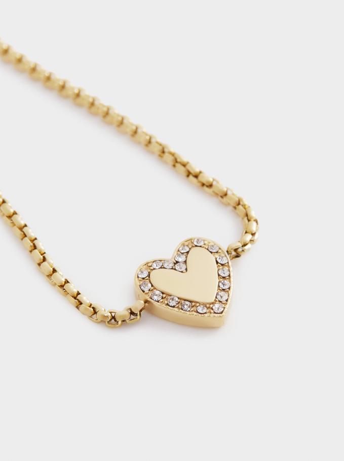 Adjustable Steel Bracelet With Heart, Golden, hi-res