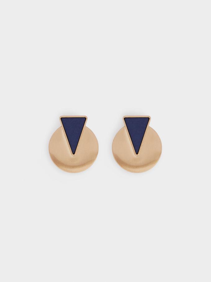 Short Geometric Earrings, Blue, hi-res