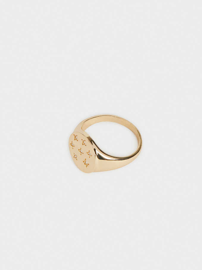 Signet Ring With Crystals, Golden, hi-res