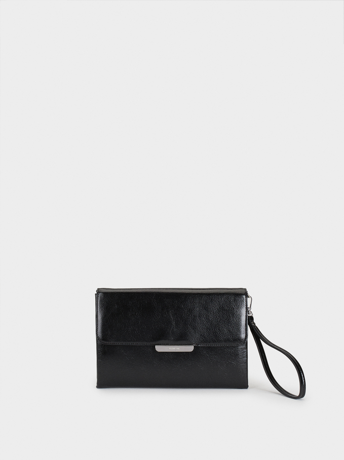 Party Clutch With Metal Detail, Black, hi-res