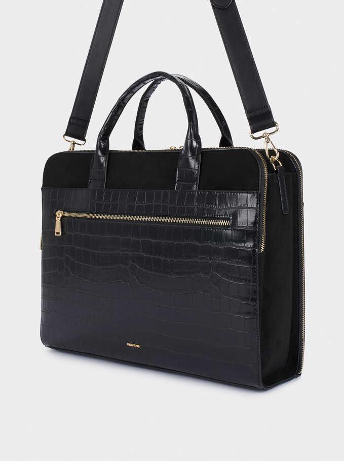 "Animal Embossed Briefcase For 13"" Laptop, Black, hi-res"