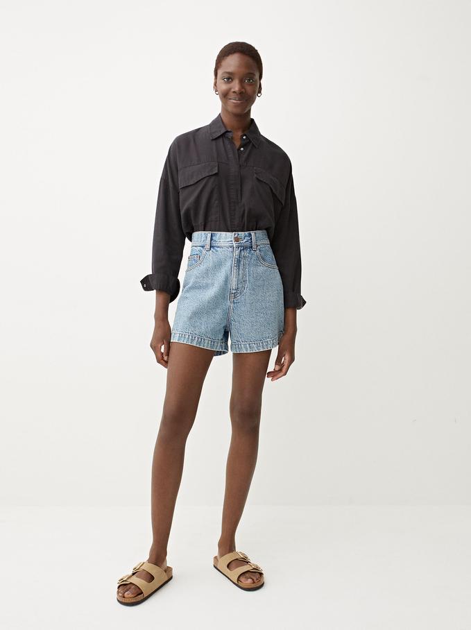 Plain Oversized Shirt, Black, hi-res
