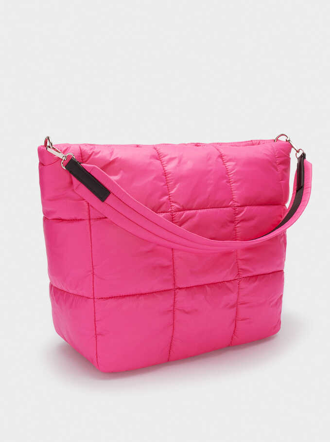 Quilted Nylon Tote Bag, Pink, hi-res