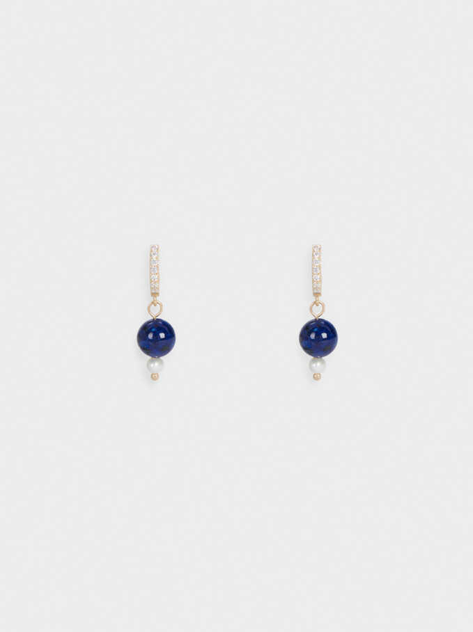 Small Hoop Earrings With Stone, Blue, hi-res