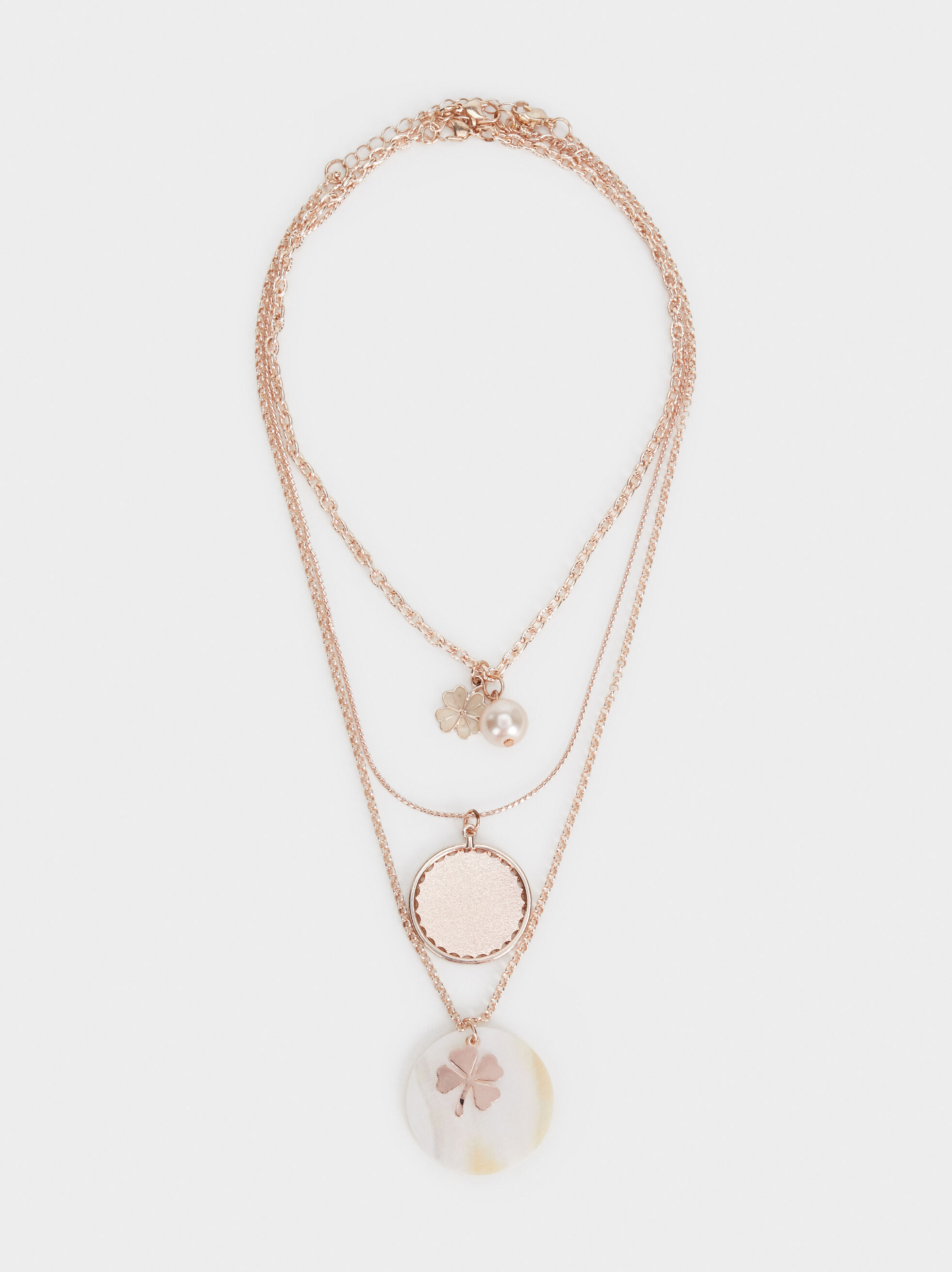 Pink Desert Set Of Necklaces With Pendants, Orange, hi-res