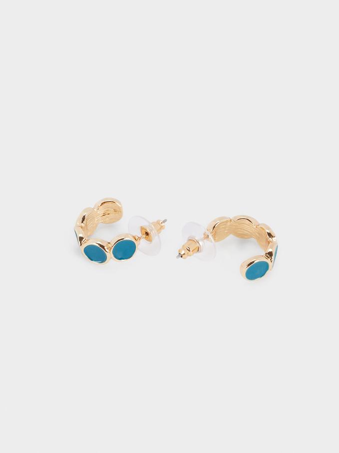 Small Enamel Hoop Earrings, Grey, hi-res