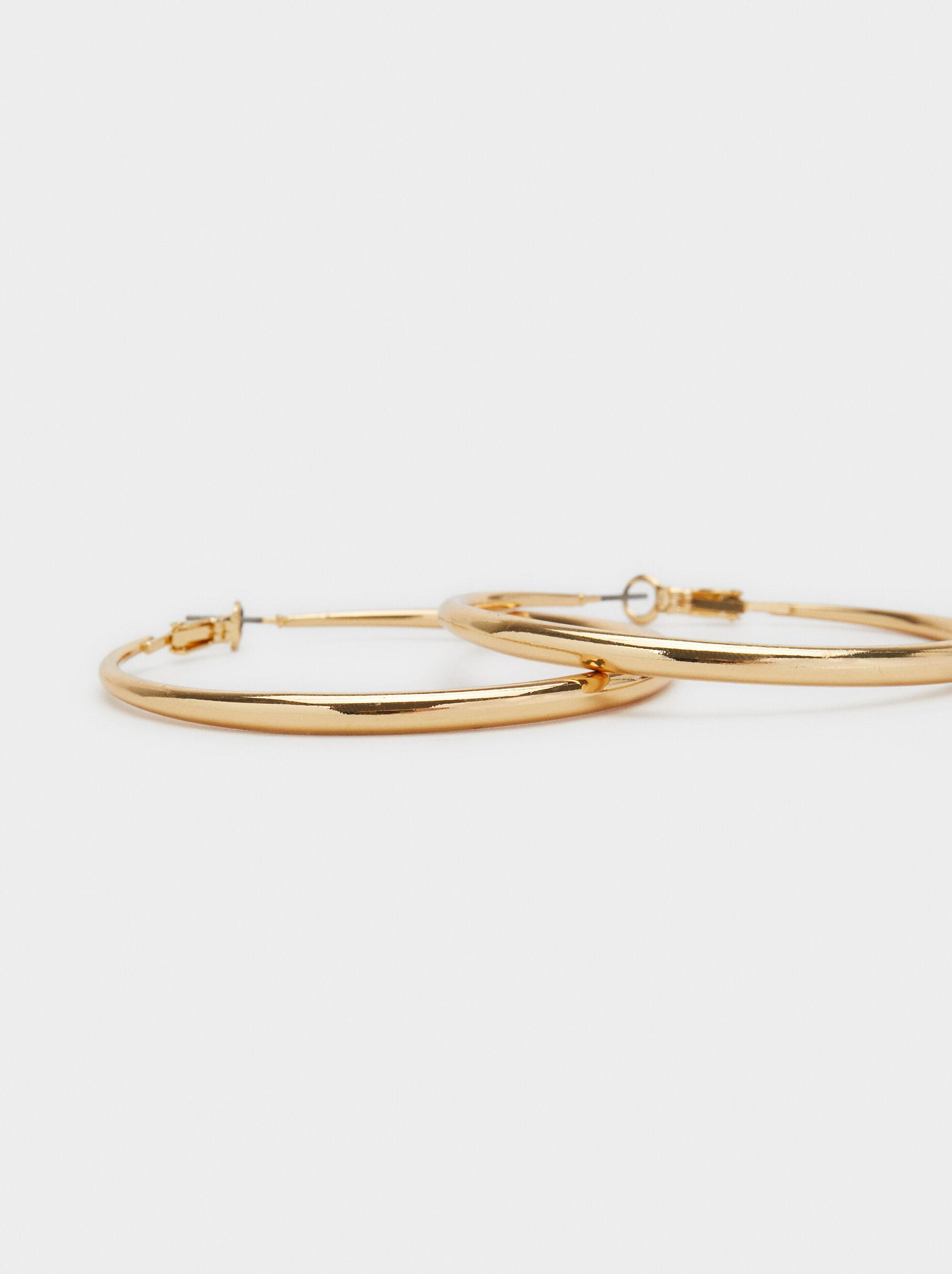 Basic Large Hoop Earrings, Golden, hi-res