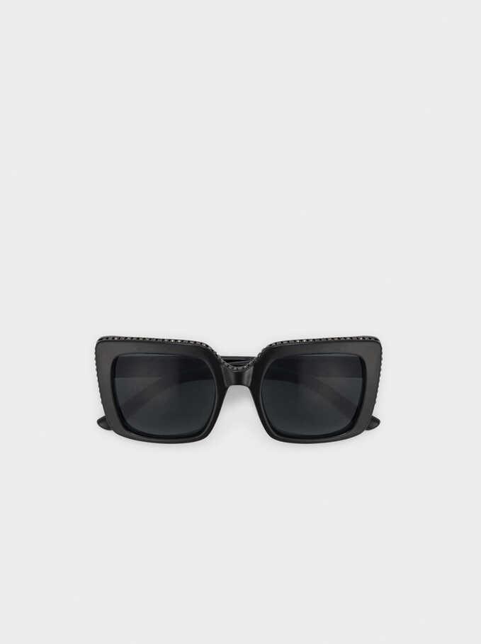 Squared Plastic Sunglasses, Black, hi-res