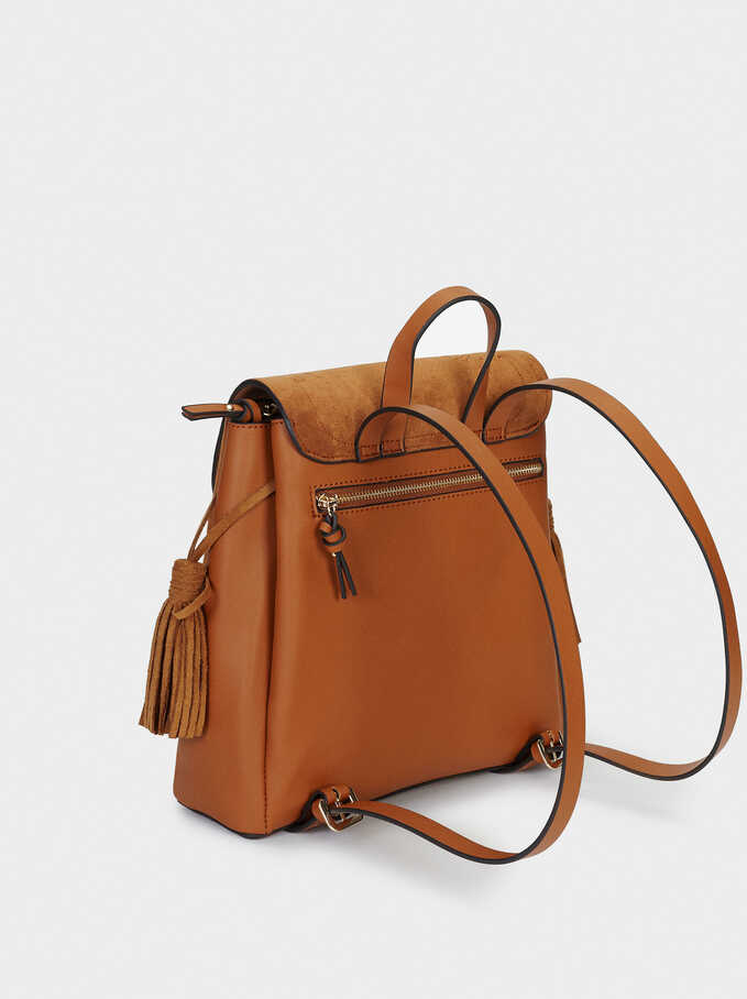 Textured Suede Backpack, Camel, hi-res