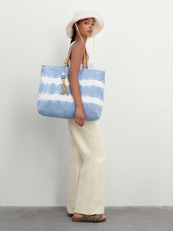 Tie-Dye Shopper Bag With Pendant, Blue, hi-res
