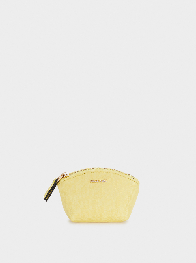 Plain Coin Purse With Zip Fastening, Yellow, hi-res