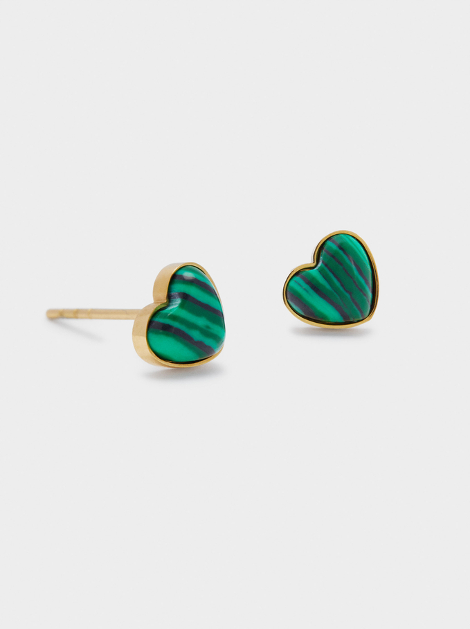 Short Steel And Stone Earrings With Heart, Green, hi-res