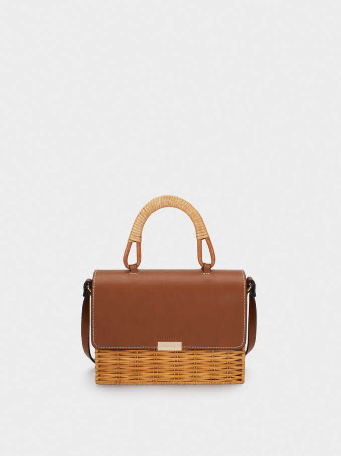 Combined Raffia Textured Tote Bag, Camel, hi-res