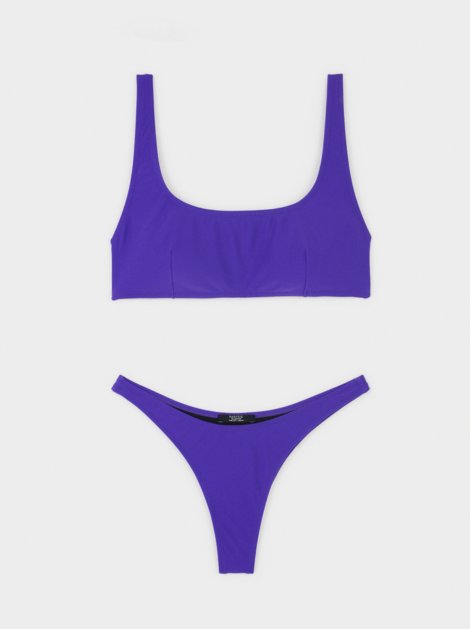 High-Waisted Bikini, Purple, hi-res