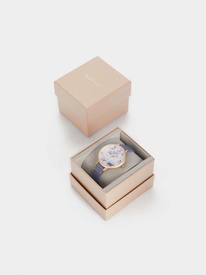 Flower Sphere Watch, Blue, hi-res