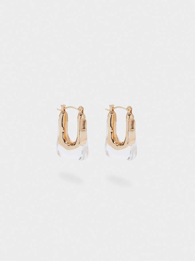 Irregular Hoop Earrings, Golden, hi-res