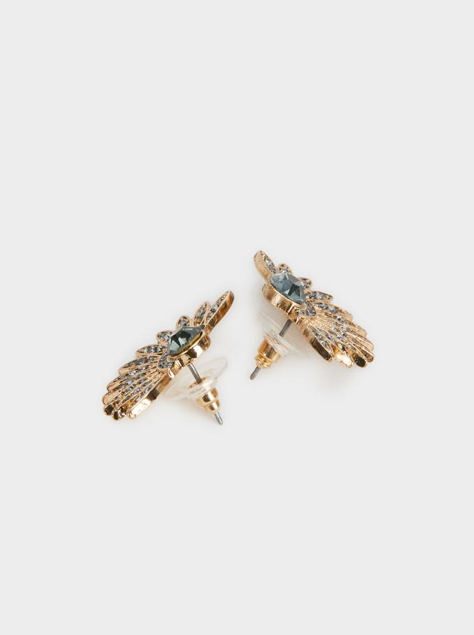 Boucles D'Oreilles Courtes Faux-Diamants, Doré, hi-res