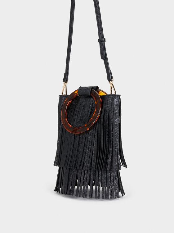 Handbag With Fringes, Black, hi-res