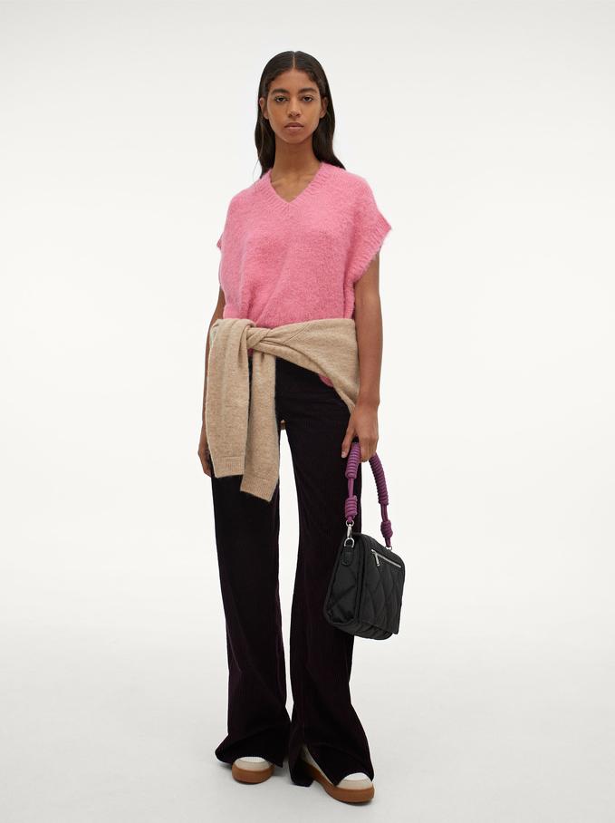 Knitted V-Neck Vest, Pink, hi-res
