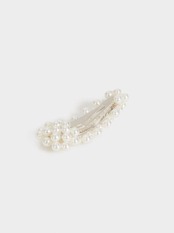 Pearl Bead Hair Slide, White, hi-res