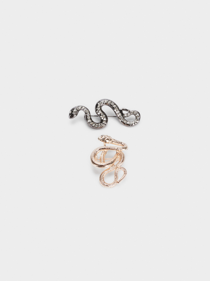 Set Of Brooches With Snakes, Multicolor, hi-res